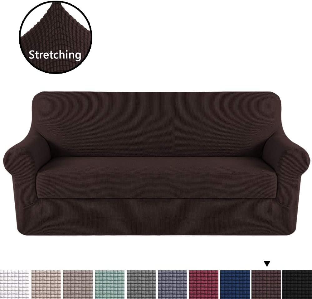 H.VERSAILTEX Deluxe Sofa Cover/Slipcover (2 Pieces Styles) Rich Jacquard Stretch Fabric High Spandex Slip Resistant Stylish Furniture Shield/Protector (Sofa, Brown)