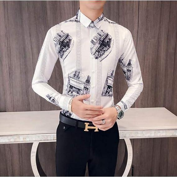 MKDLJY Camisas Moda 2019 otoño Nuevo Slim Fit Print Negro Blanco Camisas de Esmoquin para Hombre de Manga Larga Informal de Negocios Camisa de Vestir: Amazon.es: Deportes y aire libre