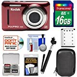 KODAK PIXPRO Friendly Zoom FZ53 Digital Camera (Red) with 16GB Card + Battery + Case + Selfie Stick + Kit