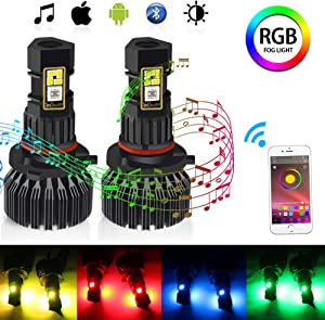 CIIHON 9006 HB4 9005 HB3 RGB LED Fog Light Bulb 3020SMD Multicolor APP Wireless Bluetooth Control Not Headlight 1800LM Driving DRL Fog Lights Bulbs