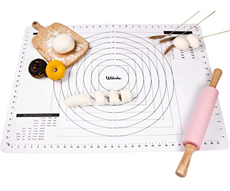 Red 70 x 50 cm Silicone Baking Mats Rolling Pastry Cutting Mat with Measurements for Fondant Dough Macaroons webake 27.5 X 19.6 Inch