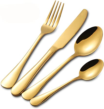 Buyer Star Cubiertos oro inox, Vajilla de mesa para 4, Juegos de Cubiertos de oro 16 piezas, Cubiertos de acero inoxidable, Set de cuchillos y ...