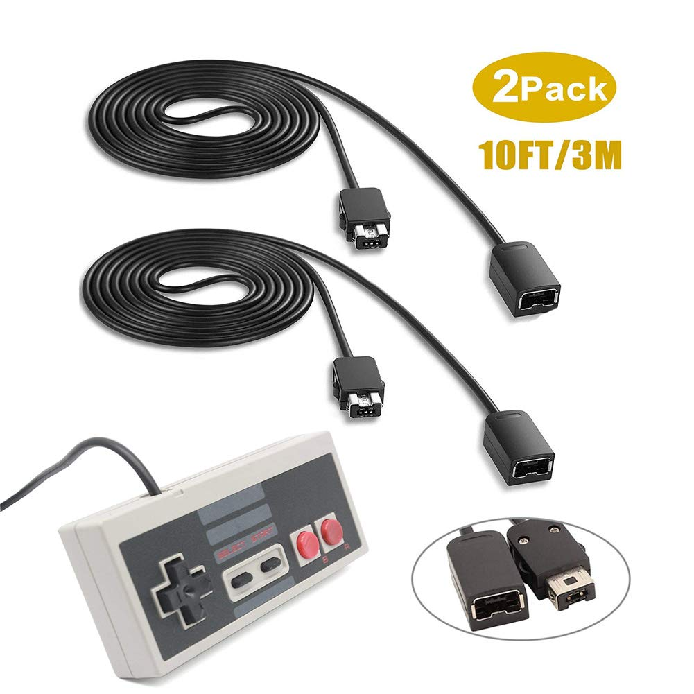 Extension Cable for SNES/NES and Wii Controller, 3M/10ft(2 Pack) Extension Cord with Mini NES Classic Controller, Compatible for Nintendo Super SNES Classic, NES Classic, Wii, Wii U and More