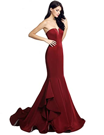 Sarahbridal Women Mermaid Long Strapless Prom Dresses Crystal Shuang Ma Elegant Evening Party Gowns Dress SLX232