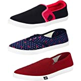 Super Women's Canvas Loafers and Moccasins and Belly Shoes - Pack of 3