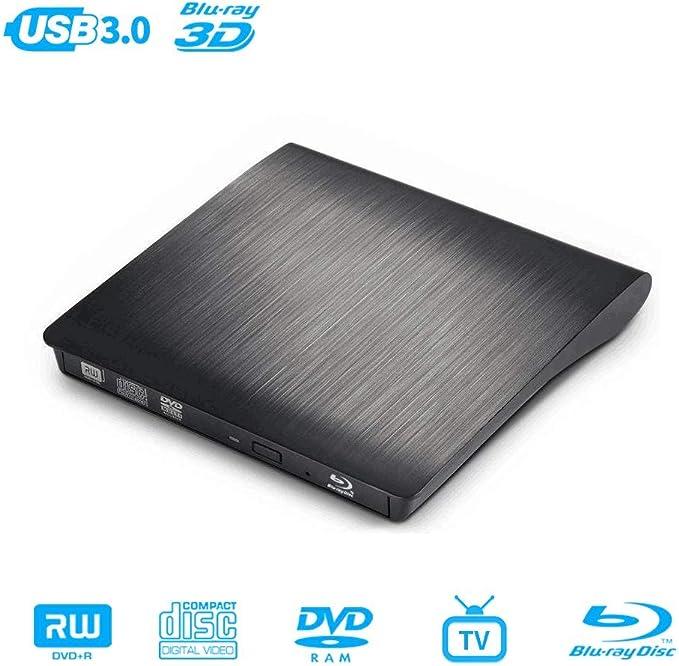 MthsTec - Unidad Externa de DVD Bluray, USB 3.0, grabadora de BLU-Ray Externa Delgada 3D, Unidad de DVD y CD con función de conectividad de TV, Compatible con Windows/Mac OS/Linux/Smart TV (Negro):