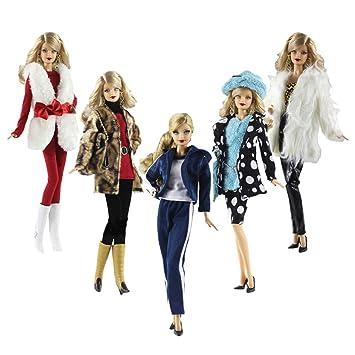 Amazon.es: Lance Home Ropa para Barbie, 5 Conjuntos Moda Abrigo de otoño Felpa de Invierno Vestidos Pantalones Zapatos Sombrero Rompevientos para Barbie ...