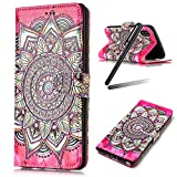 "iPhone X Case,iPhone 10 Case,iPhone X Wallet Case,iPhone 10 Cover,Flip Stand Case for iPhone X,SKYMARS Gloss Skin 3D Creative Design Book Style PU Leather Flip Kickstand Cards Slot Wallet Magnet Protective Stand Case for iPhone X / iPhone 10 (2017) 5.8"" Flower Red Totem"