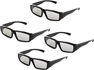 Passive 3D Glasses Circular Polarized Lenses for Family All Ages Unisex Sony Sharp Toshiba Samsung LG Philips and All Passive TVs, RealD Cinema Home Movie Theaters and Projectors-4 Pairs