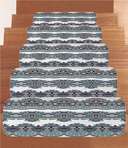 SoSung Paisley Decor Coral Fleece Stair Treads,Stair Tread Mats,Ethnic Floral Bordered Triplet Design with Stripes Dots and Circles Image,(Set of 5) 8.6