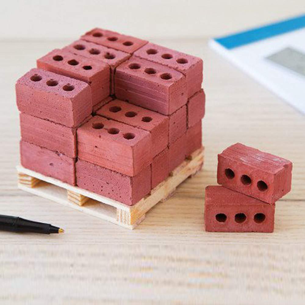 Rouge Fulltime Mini Briques Jouets,32pcs Mini Ciment Briques Briques Construire Votre Propre Mini Mur Briques Rouge,Gris