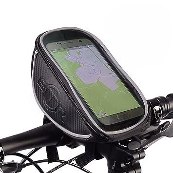 BTR - Grande Alforja Bolsa Funda Móvil con Pantalla PVC Transparente para Manillar de Bicicleta - Impermeable - Negro: Amazon.es: Deportes y aire libre