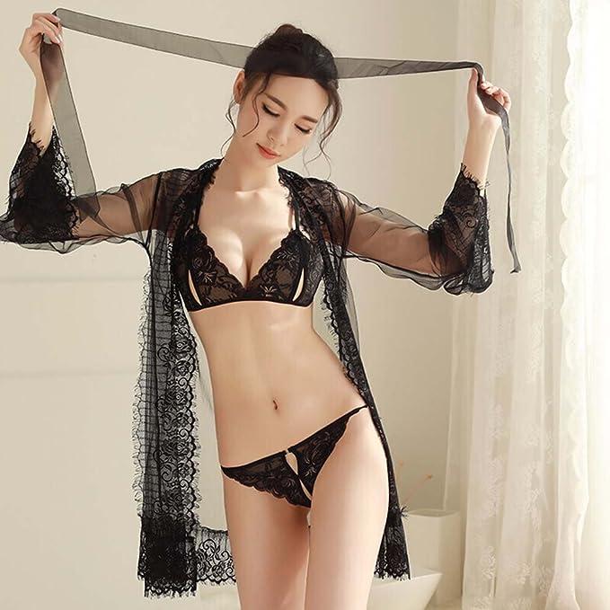 GZSH Lencería Sexy Lencería Sexy Mujer Transparente Sexy Pijamas Bud Hilo de Seda Lencería Sexy Conjunto