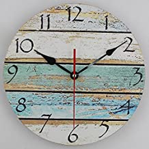 Timelike Wooden Wall Clock Retro Design, 12 Inch Colorful MDF Vintage Round Wall Clock Big Watch Home Decorative Gift (12 Inch, M 1)