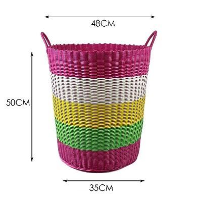 Xuan - worth having Rose Grande capacité Dirty Clothes Storage Basket Weave Box Plastic Weave Storage Box Barrels Qualité PVC Matériau