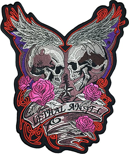 [Large Size] Papapatch Lethal Angel Skull Pink Roses