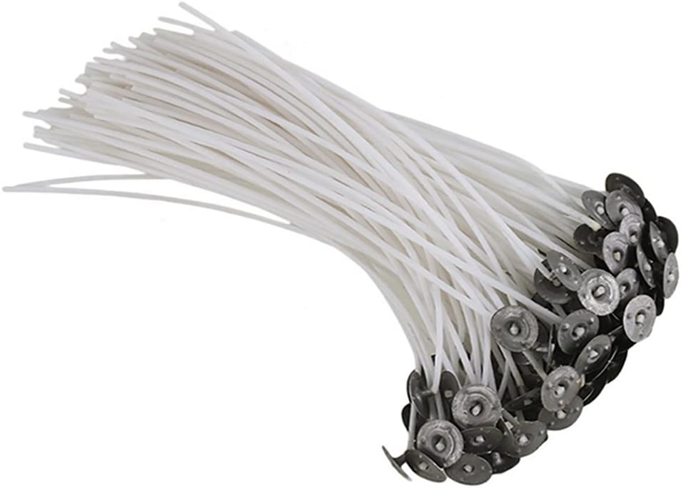 Pack of 50 15cm Pre Waxed Wicks for Candle Making With Sustainers