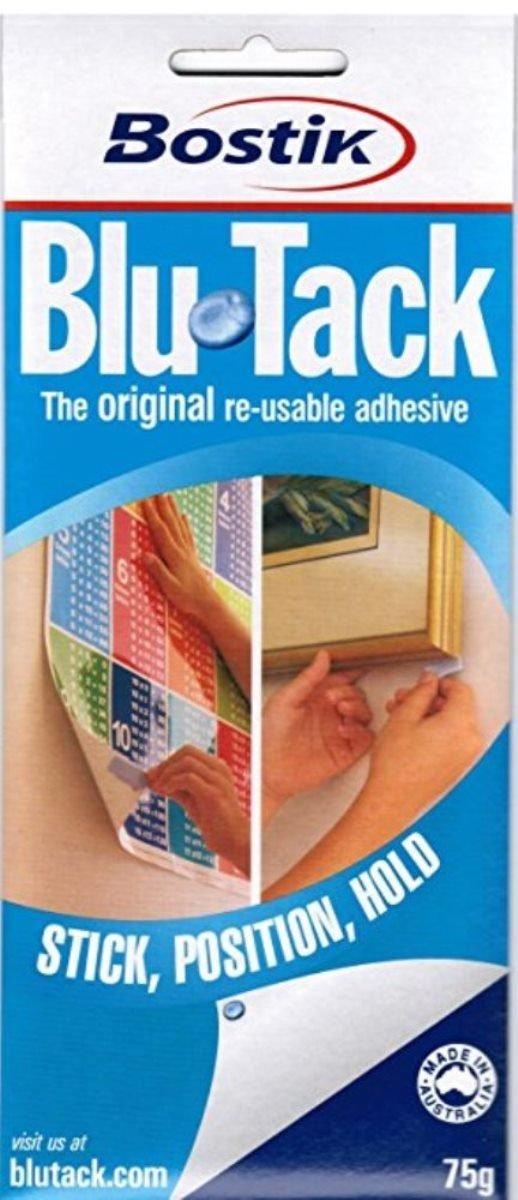 Bostik Blu-Tack Reusable Adhesive: 75g, 5 strips- orange, green, pink, blue & yellow / Assorted (Orange, Green, Pink, Blue & Yellow) BLU-TACK/OGPBY
