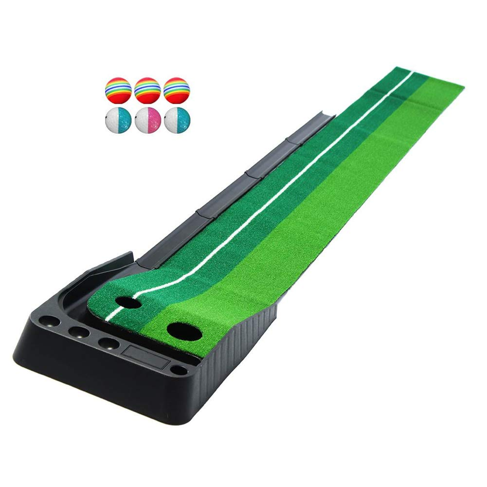 GYFHMY Dual-Track Indoor Golf Putting Green Set, Portable Mat with Auto Ball Return Function, Foldable Training Aid for Home Game, Office, Outdoor Use by GYFHMY