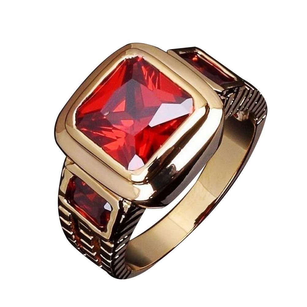 Himpokejg Men's Fashion Square Shape Faux Gemstone Wedding Birthday Band Jewelry Ring - Black US 10 by Himpokejg (Image #8)