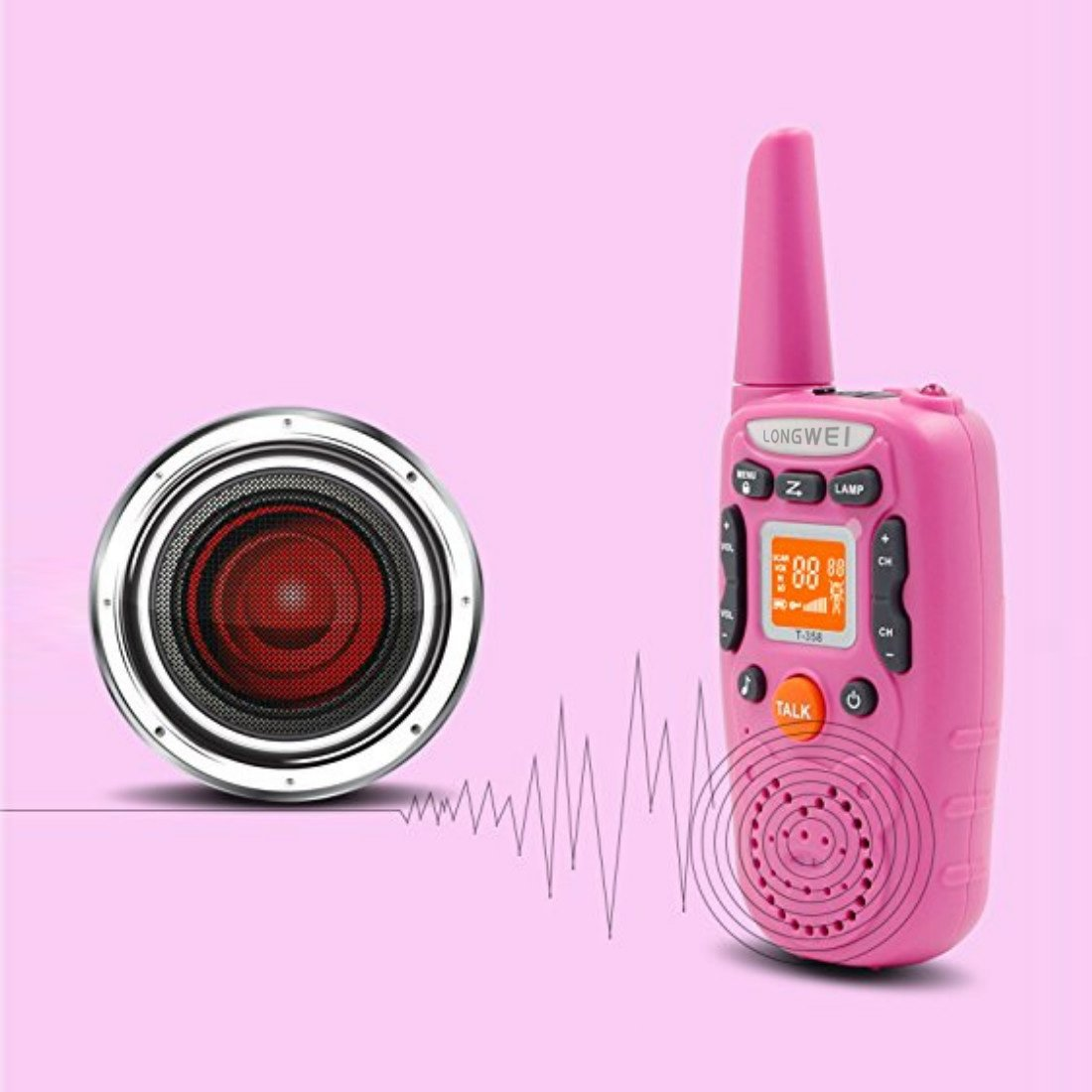 Kids Walkie Talkie Set 0.5W FRS/GMRS 22 Channel Two Way Radio Up to 3 Km Range for Children Camping Hiking(2PCS Pink) by longwei (Image #4)