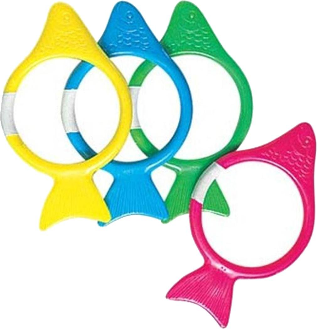 Childrens Swimming Pool Floating Aqua Fun Play Toys Dive Fish Ring Set Of 4 by Sportsgear US