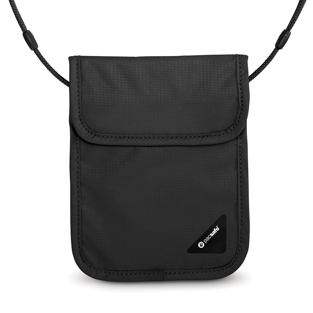 Pacsafe Coversafe X75 Anti-Theft RFID Blocking Neck Pouch, Black