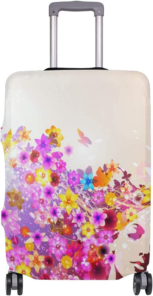 GIOVANIOR Portrait Of Sensual Woman With Flowers Luggage Cover Suitcase Protector Carry On Covers