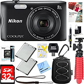 Nikon Coolpix A300 20.1MP 8x Optical Zoom NIKKOR WiFi Black Digital Camera + 32GB Class 10 UHS-1 SDHC Memory Card + Two-Pack EN-EL19 Replacement Battery + Accessory Bundle