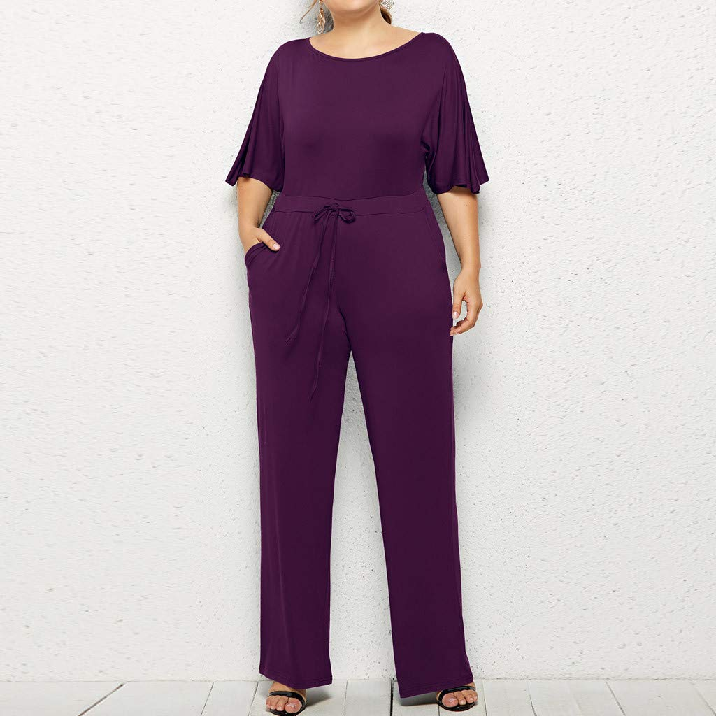 Jianekolaa Long Pant Jumpsuit for Women,Loose Fit Jumpsuit,Half Sleeve Jumpsuit,High Waist Jumpsuit,Solid Fomal Jumpsuit Purple