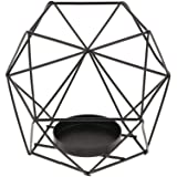 HUANSHENG Geometric Candle Holder Tealight Candlestick Holders Tray for Wedding, Home Decoration, Gift, Party, Decor Black