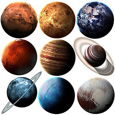 Wallmonkeys Nasa Solar System Planets Wall Decal Sticker Set Individual Peel and Stick Graphics on a Sticker Sheet WM363131