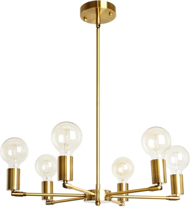BAODEN 6-Lights Fixture Modern Gold Sputnik Chandelier Brushed Brass Mid Century Pendant Light Semi Flush Mount Hanging Lamps for Dining Bedroom Kitchen Lighting