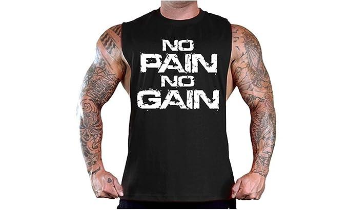 YeeHoo Hombre Camisetas de Tirantes Entrenamiento No Pain No Gain Culturismo Muscular Chaleco Camiseta de Tirantes Stringer Gimnasio: Amazon.es: Ropa y ...