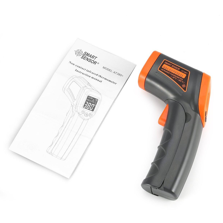 Ballylelly SMART SENSOR AT380 + Termómetro infrarrojo digital del arma de la temperatura del PDA con el punto de ignición sin contacto del punto del laser ...
