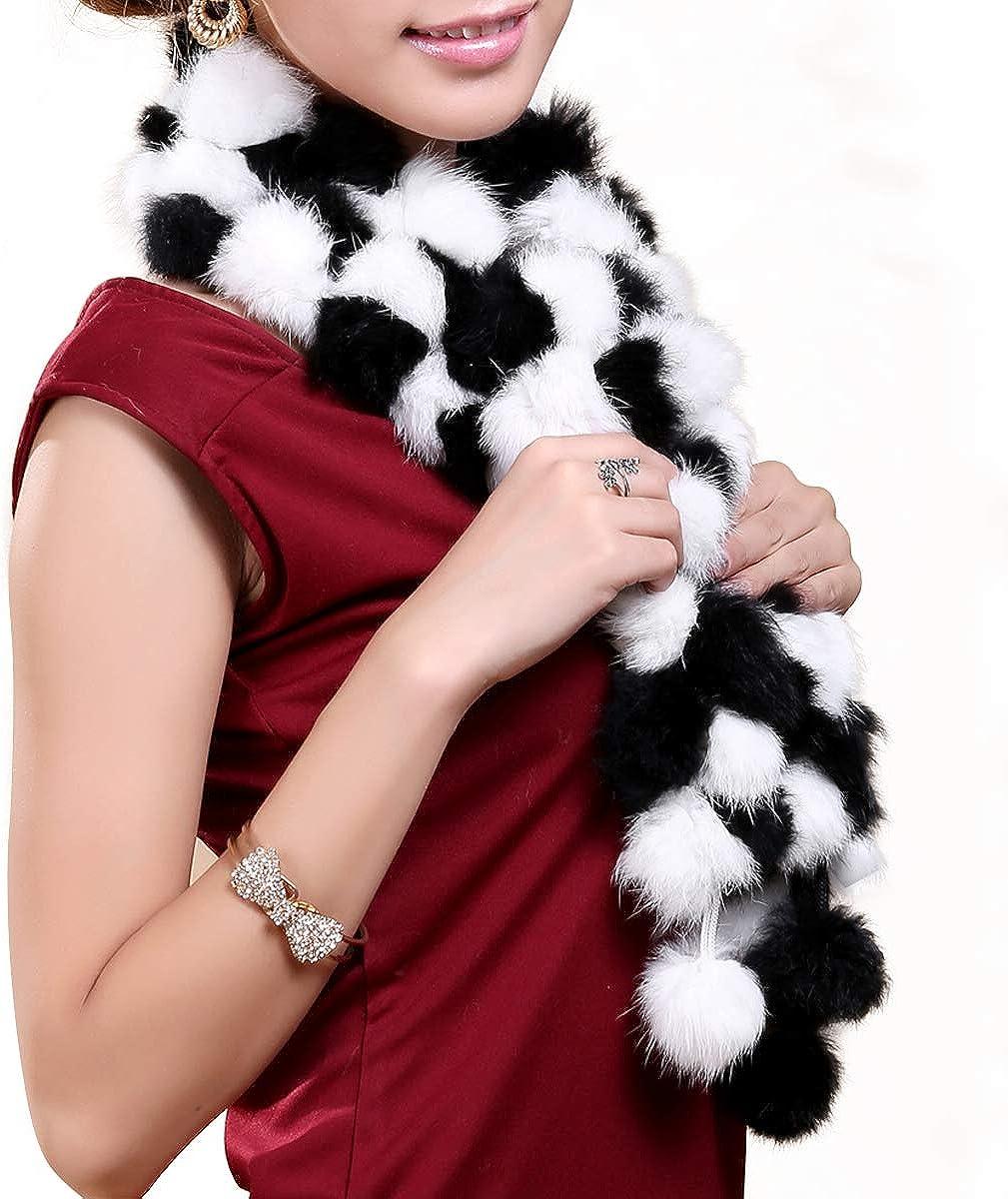 Women Fur Scarves Rabbit Fur Neck Warmer Scarf for Winter Fur Scarf Wrap