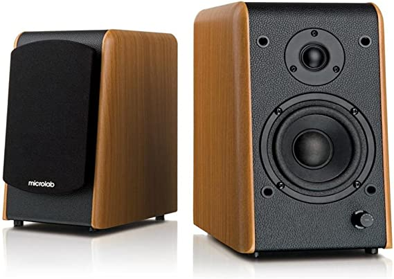 Microlab Chairman B77BT Active Powered Bookshelf Speakers - Bluetooth Speakers- Heavy Bass - Desktop Speakers - Studio Monitor Speaker - Wooden Enclosure