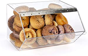 Clear Pastry Display Case for Bagels and Other Baked Goods, Clear, Stackable, with A Hinged Door