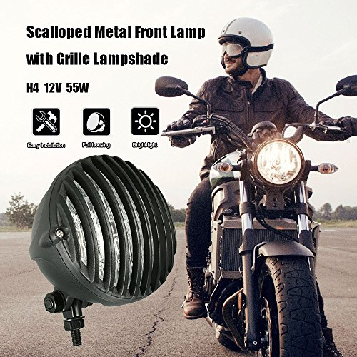 Victoria-ACX - Motorcycle headlight for Harley Scalloped with Grille Lampshade Chopper Bobber H4 12V 55W ()