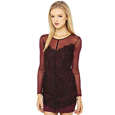 Women Wine Red Lace Back Mesh A Line Dress At Amazon Womens