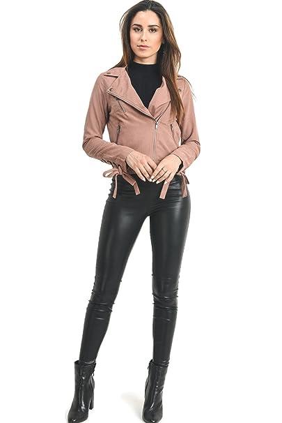 af68c29a3eb Instar Mode InstarMode Women s Lightweight Faux Suede Peach Skin Lace up  Sleeves Moto Biker Jacket (
