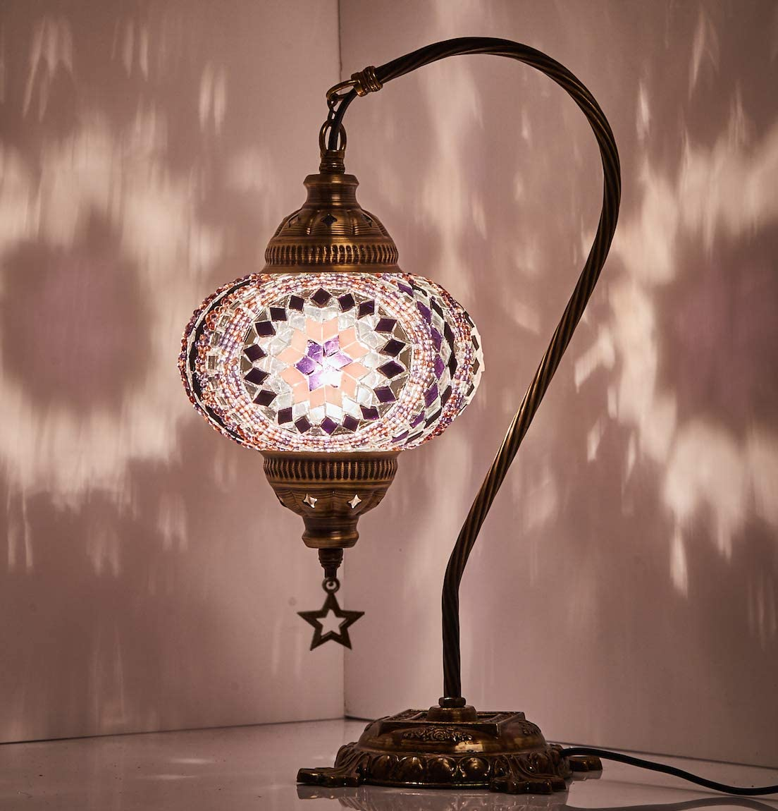 (18 Variations) Newest CopperBull 2018 Turkish Moroccan Tiffany Style Handmade Mosaic Table Desk Bedside Night Swan Neck Lamp Light Lampshade, 42cm (11)