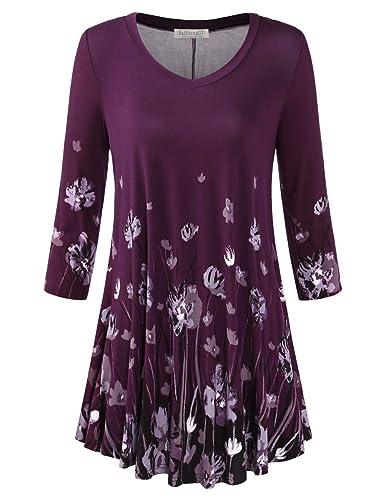BAISHENGGT-Camiseta Larga Blusa para Mujer con Estampado Morado-Floral#2 Medium