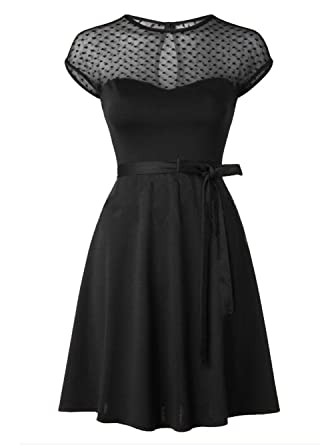 Blooming Jelly Womens Retro 50s Style Swing Dress Black Small