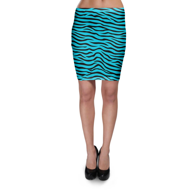 Cebra azul brillante Bodycon falda XS-3 X L Elástico Falda Corta ...