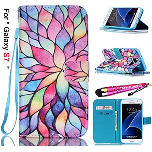 Galaxy S7 Case, MerKuyom [Wrist Strap][Kickstand] Magnetic Flip Premium PU Leather Wallet Pouch [Card Holder] Protective Cover Case Skin For Samsung Galaxy Sales