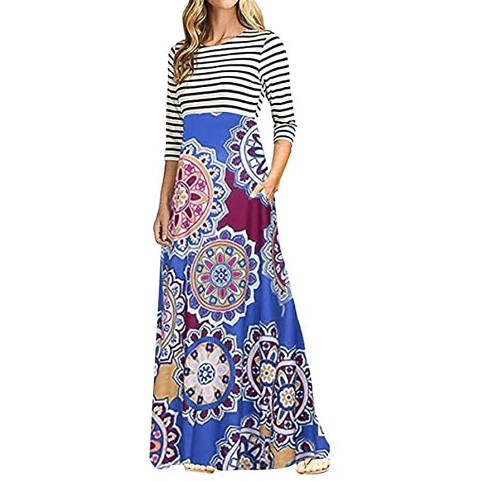 467bf735a78 Womens Vintage Dresses Long Sleeve Casual Boho Print Stripe Long Dress with  Pockets for Ladies Teen Girls Loose Tunic Maxi Dress Shirt Dress Sundress  ...