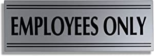 JP Signs - Employees Only Sign – 9 X 3 Inch Premium Business Signage on Durable Plates (Silver/Black) – Engraved – Ideal for Office, Restaurant, Store – Highly Visible Elegant Desig