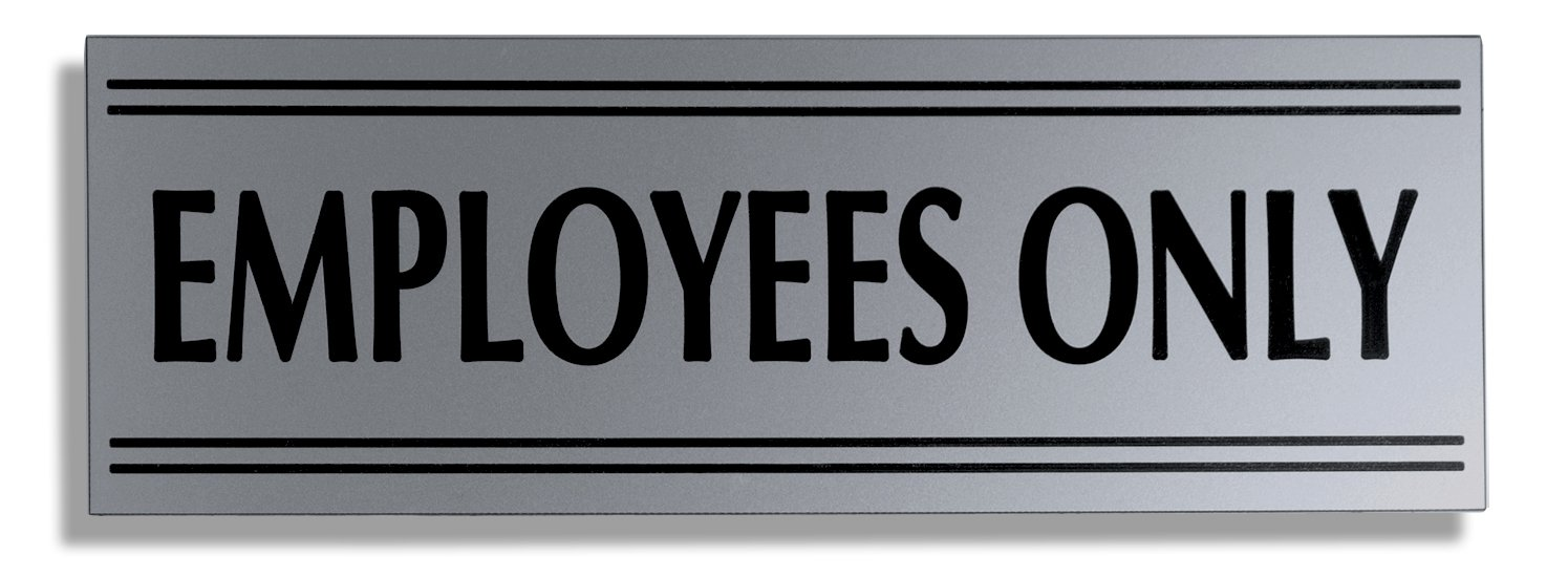 JP Signs - Employees Only Sign – 9 X 3 Inch Premium Business Signage on Durable Engraved Plates (Silver / Black) – Not a Sticker – Ideal for Office, Restaurant, Store – Highly Visible Elegant Design – High Quality Plastic Material – 20 Years G