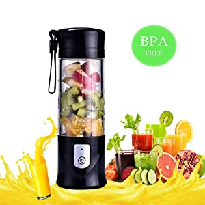USB Portable Juicer Cup Blender, Mini Juice Mixer with Updated 6 Blades, Fruit &Baby Food Mixing Machine with Powerful Motor,13Oz (Black)